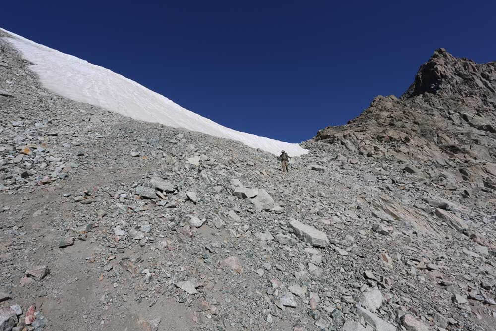 Alan descending the east side of Knapsack Col