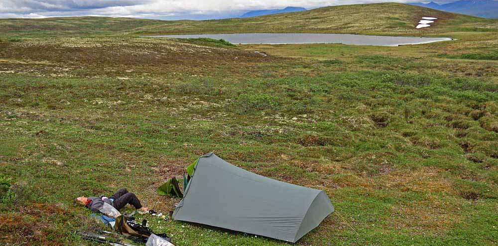 A two-pound TarpTent on the Alaskan tundra