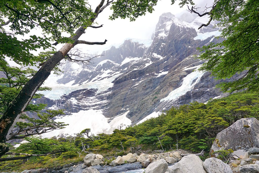 Glacier Frances from near Mirador Frances. It's typical in Patagonia for peaks to cloud in mid to late afternoon.
