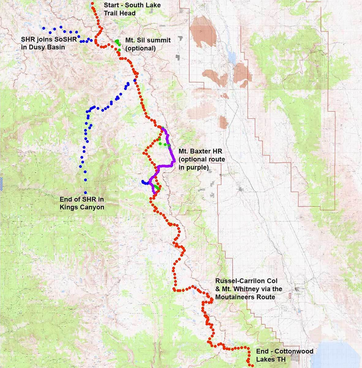 Southern Sierra High Route - an alternative to the JMT ... on map of sequoia national park, map of sierra nevada, map of camino de santiago, map of cherokee national forest, map of ansel adams wilderness, map of great western loop, map of tulare county, map of the house, map of san joaquin river, map of orange river, map of trans-siberian railway, map of taft point, map of roan mountain, map of california, map of state high points, map of 110 freeway, map of tenaya lake, map of nevada fall, map of us state parks, map of mountain loop highway,