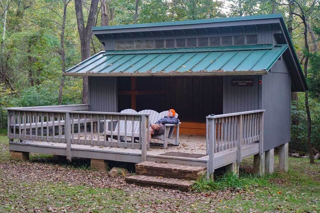 Relaxing at the recently constructed Jim and Molly Denton Shelter. It has a picnic pavilion and