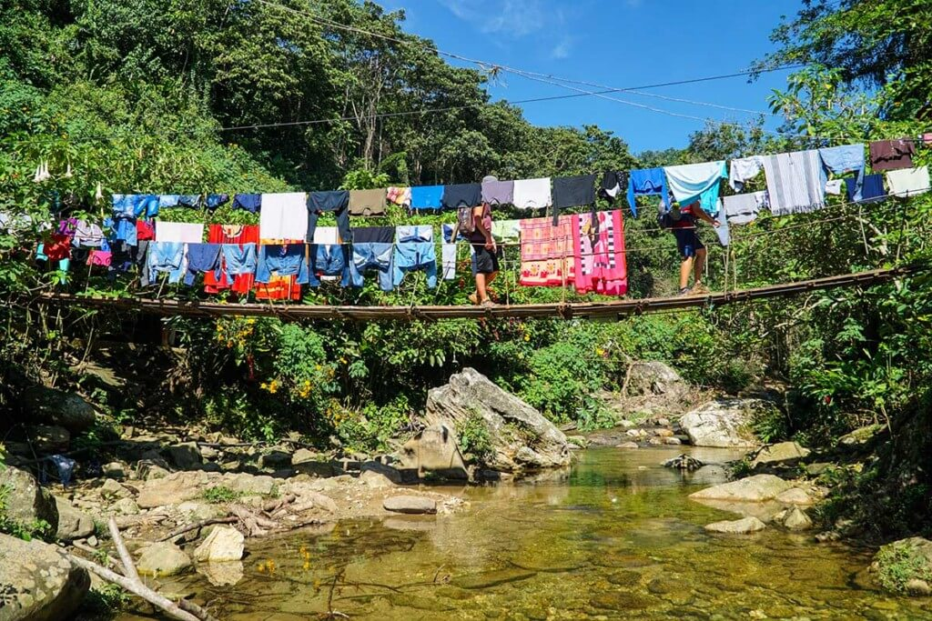 Drying laundry on the suspension bridge at Adan Camp and nativle commuinty looks like prayer flags.