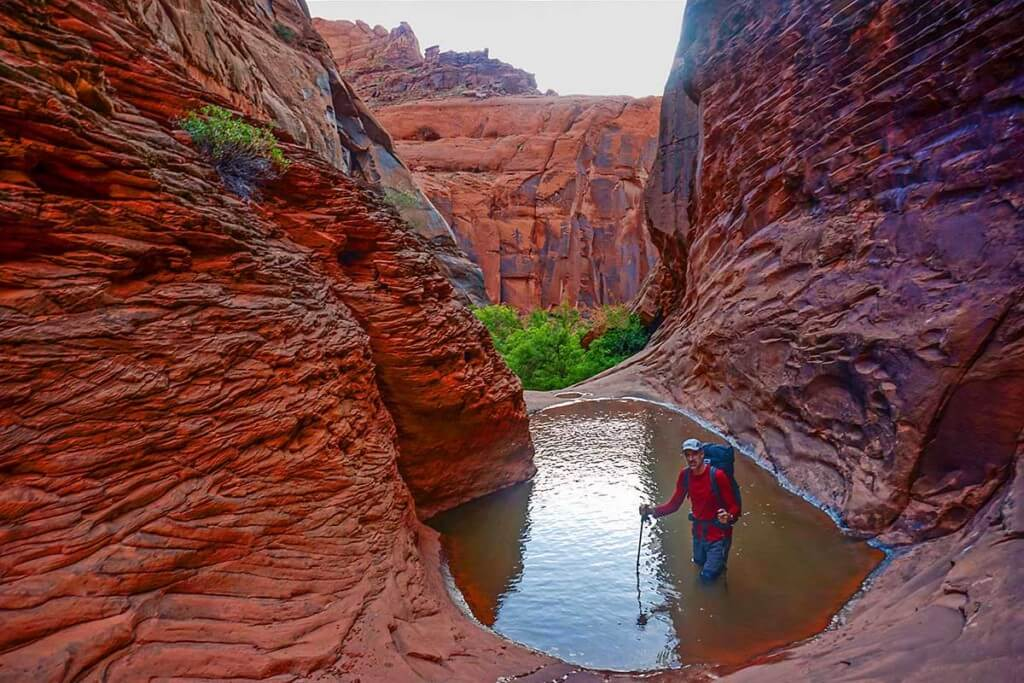 Even in the desert getting wet is sometimes unavoidable. Don in our final exit canyon from the Escalante River.
