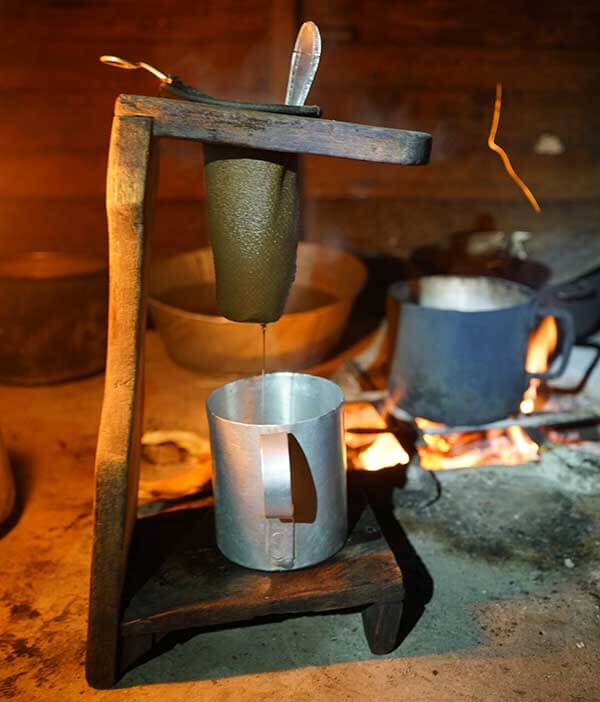 This is how coffee was brewed at every home we stayed. You can see the open wood fire in back to boil the water. (The Sierra Maestra Mountains are the heart of coffee growing in Cuba. Just the right elevation for the best coffee.)
