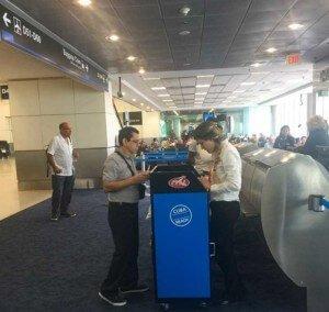 """Cuba Ready"" kiosk at Miami Airport."