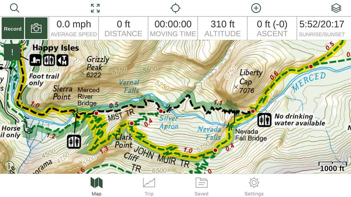 GAIA GPS App | Picture of Hiking GPS Screen on iPhone