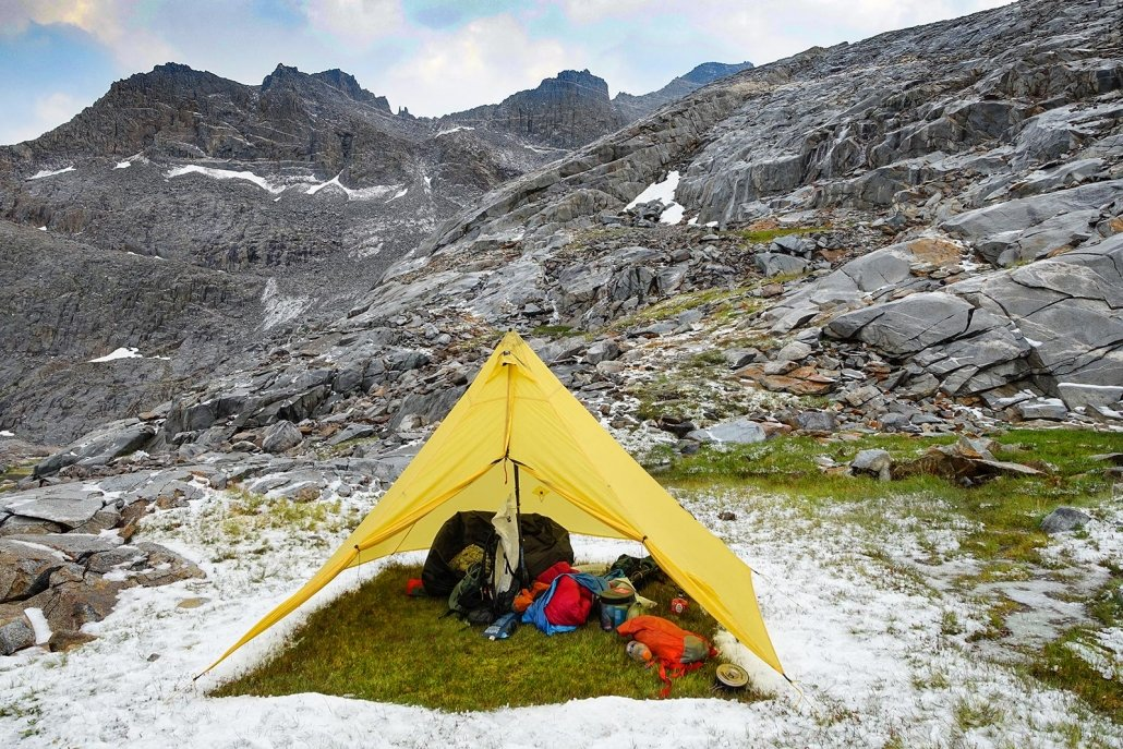 mountain laurel designs supermid backpacking tent in the sierras after a storm
