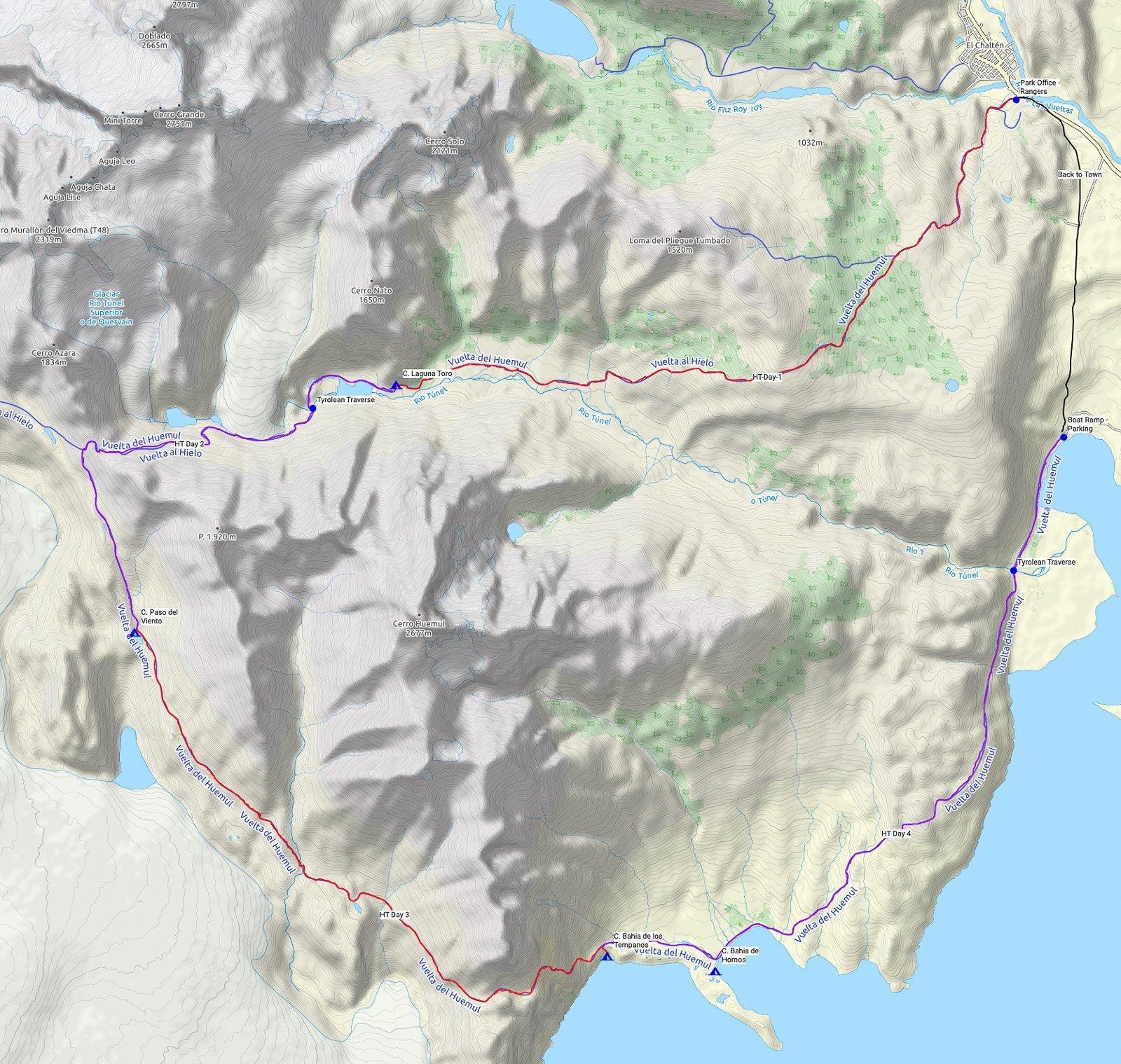 Huemul Circuit Map - El Chalten Patagonia