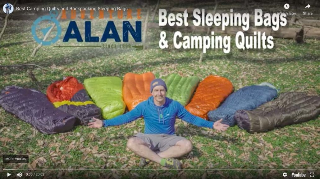 video bacpakcing sleeping bags & camping quilts