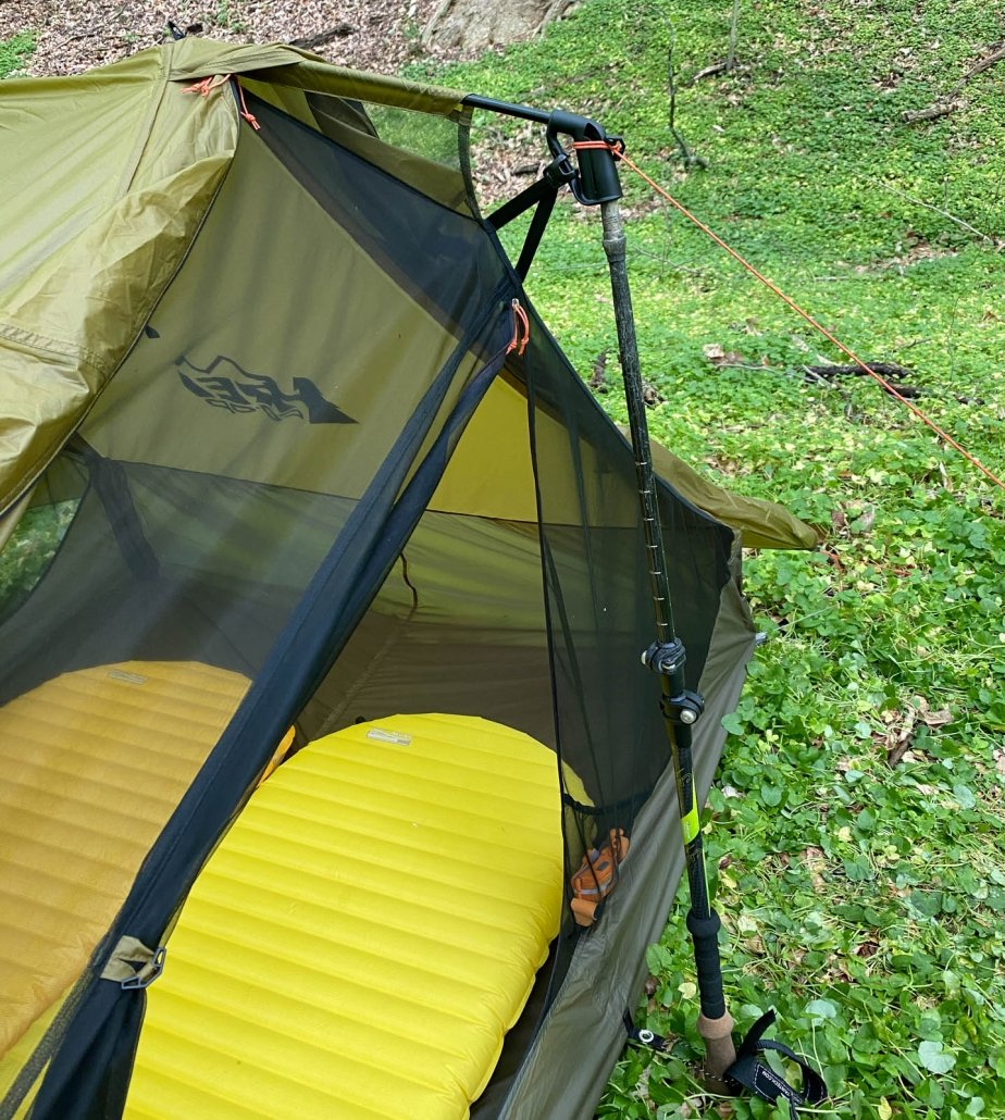 trekking pole used to pitch tent