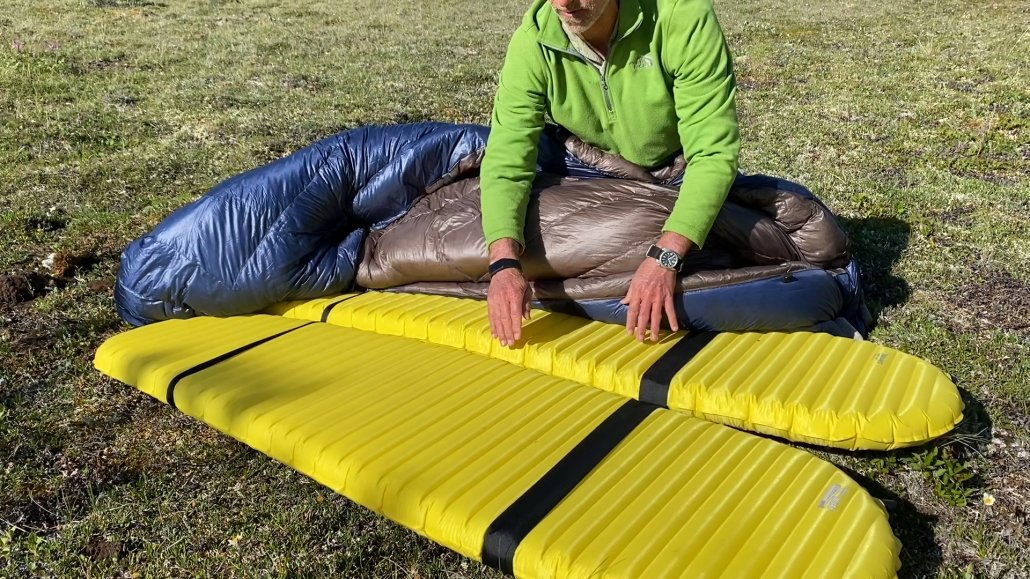 Thermo-rest pad and elastic straps being used with our Enlightened Equipment Accomplice backpacking quilt