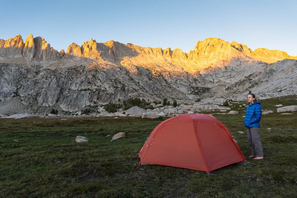 morning with Big Agnes Copper Spur tent buttoned up