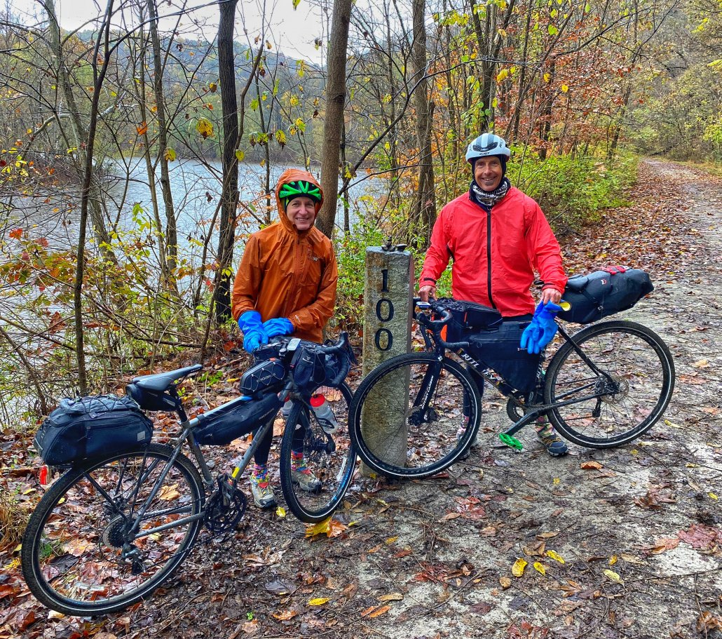 Outdoor Research Helium Rain jacket and pants on a bikepacking trip