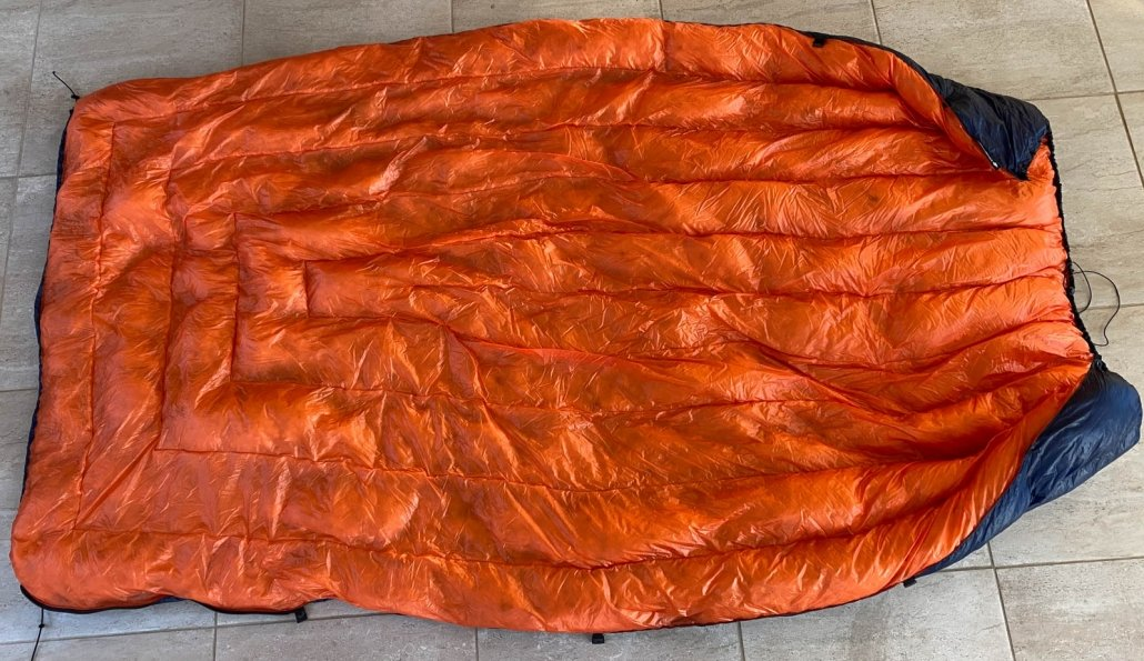 completely opened backpacking quilt