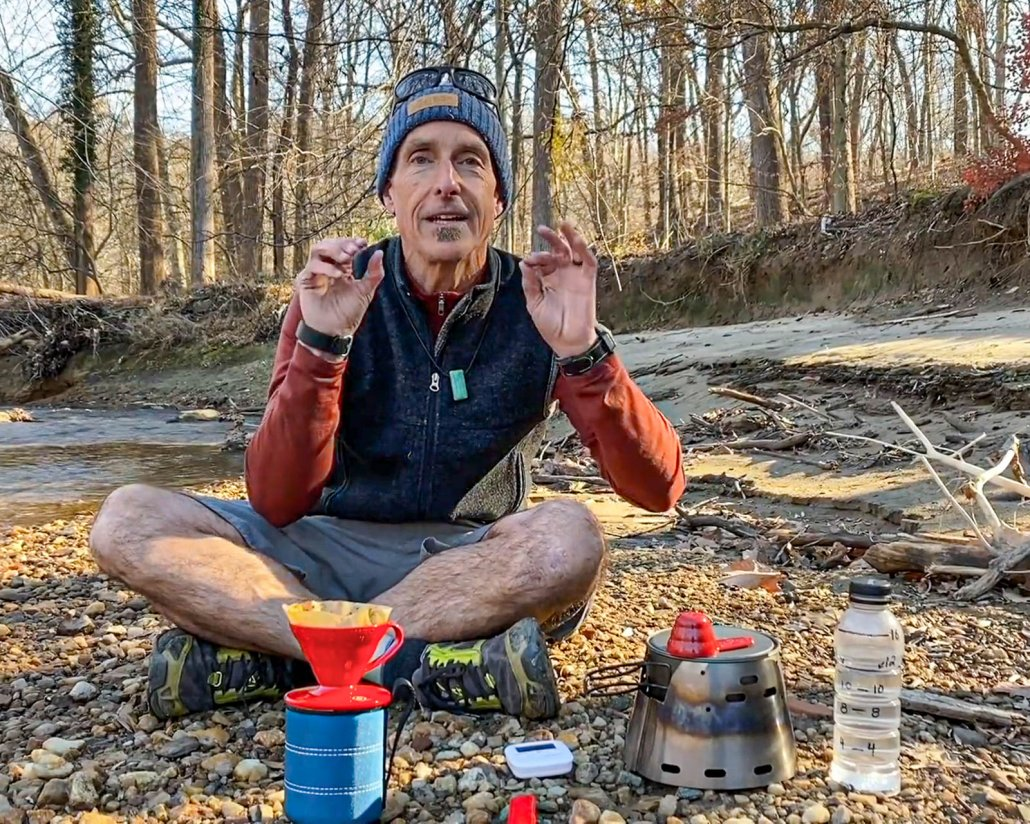 Alan with his camp coffee supplies to make the best backpacking coffee method
