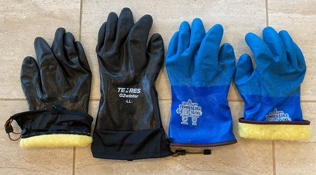 showa temres 282 glove and Show temres 282-02 winter glove used as hiking gloves