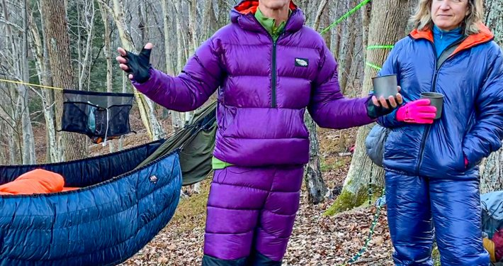 sleeping bag jail with campers in warm clothes