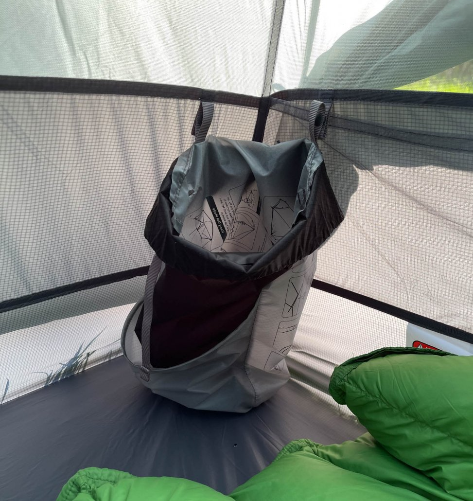 Rainfly doubles as interior pocket in the Telos TR2 tent